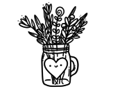 Dibujo de Bote con flores silvestres y un corazón