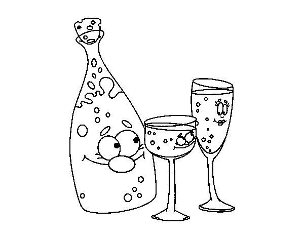 Botella De Cerveza Dibujo: Dibujo De Botella De Champán Y Copas Para Colorear