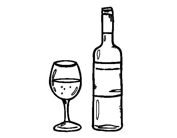 Dibujo de Botella de vino y copa para Colorear