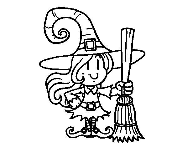 Dibujo de bruja con escoba para colorear - Como pintar a una nina de bruja para halloween ...