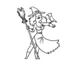 Dibujo de Bruja con halcón para colorear