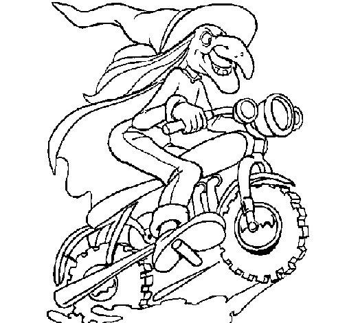 Dibujo de Bruja en moto para Colorear
