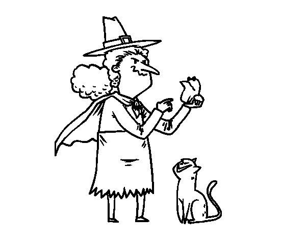 Dibujo de Bruja malvada con rana para Colorear