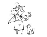 Dibujo de Bruja malvada con rana