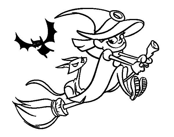 Dibujo de Bruja y gato negro volando para Colorear