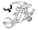 Dibujo de Bruja y gato negro volando