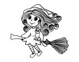 Dibujo de Brujita con escoba para colorear