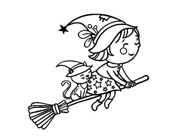 Dibujo de Brujita volando con su escoba para Colorear