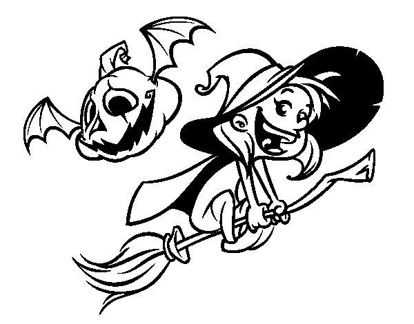 Dibujo de Brujita y calabaza de Halloween para Colorear