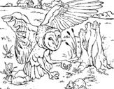 Dibujo de Búho cazando