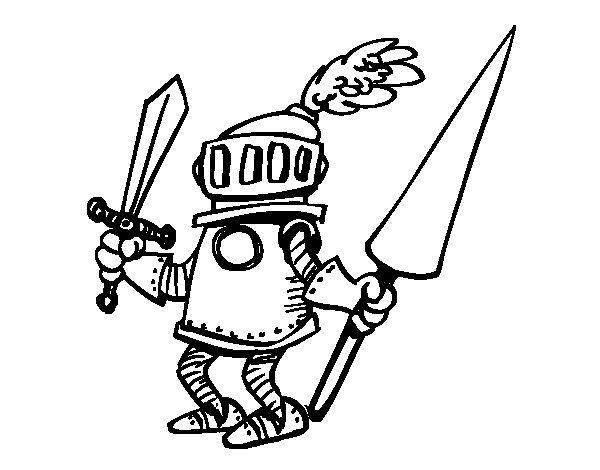 Dibujo de Caballero con espada y lanza para Colorear