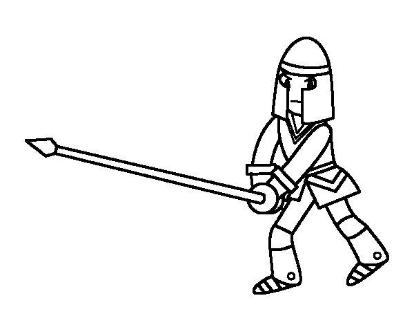 Dibujo de Caballero con lanza para Colorear