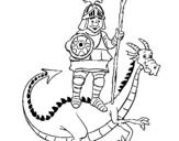 Dibujo de Caballero San Jorge y el dragon para colorear