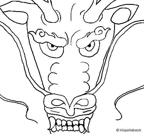 Dibujo de Cabeza de dragón para Colorear
