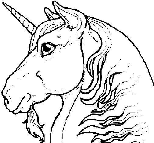 Dibujo de Cabeza de unicornio para Colorear