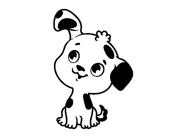 Dibujos Infantiles De Perros Para Colorear: Dibujo De Cachorrito De Perro Para Colorear
