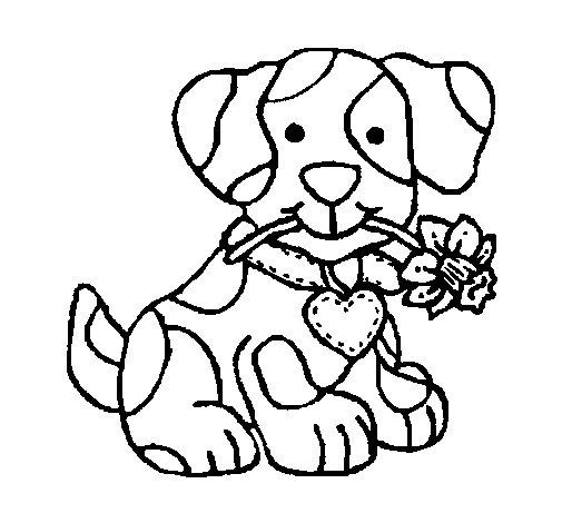 Dibujo de Cachorro con una flor en la boca para Colorear  Dibujosnet