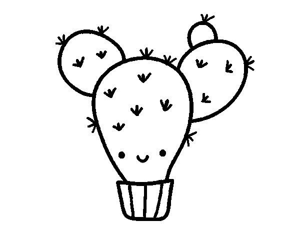 Dibujo de Cactus nopal para Colorear