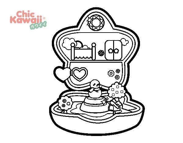 Dibujo de Caja de Música Kawaii para Colorear