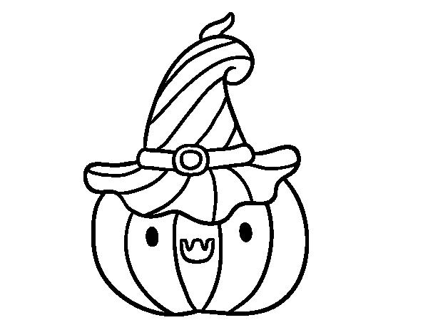 Dibujos De Halloween Para Colorear E Imprimir: Dibujo De Calabacita De Halloween Para Colorear