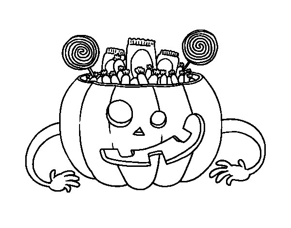 Dibujos Para Colorear De Calabazas De Halloween Para Imprimir: Dibujo De Calabaza De Chuches De Halloween Para Colorear