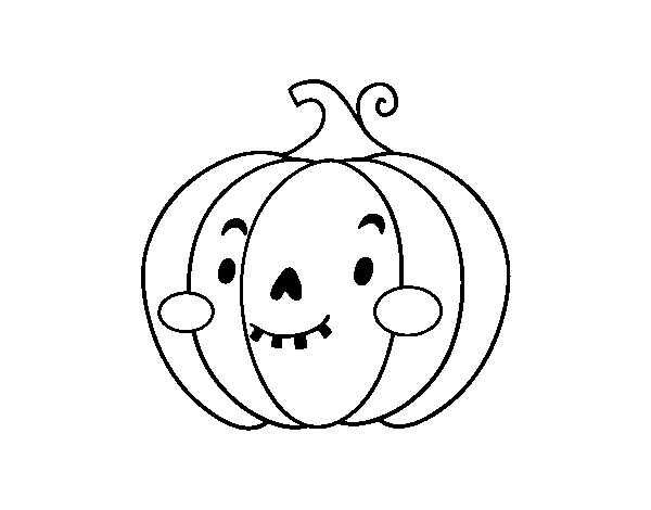 Dibujo de Calabaza de Halloween simpática para Colorear