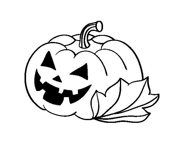 Dibujos Para Colorear De Calabazas De Halloween Para Imprimir: Dibujo De Calabaza Decorada De Halloween Para Colorear