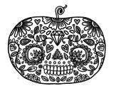 Dibujo de Calabaza del día de los muertos  para colorear