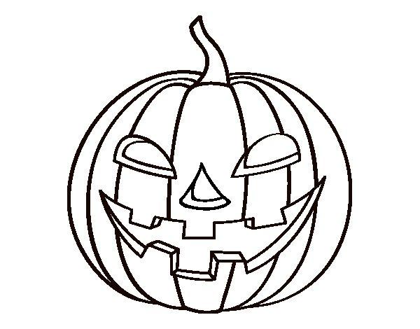 Dibujo de calabaza malvada para colorear for Calabaza halloween dibujo