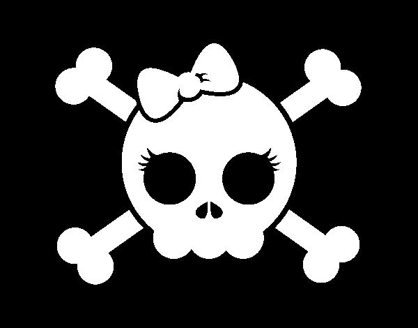 Dibujo de Calavera con lazo para Colorear  Dibujosnet