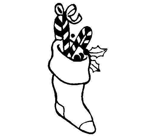 Dibujo de Calcetín con caramelos para Colorear