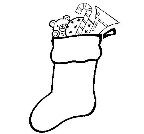 Dibujo de Calcetín con regalos 1 para Colorear