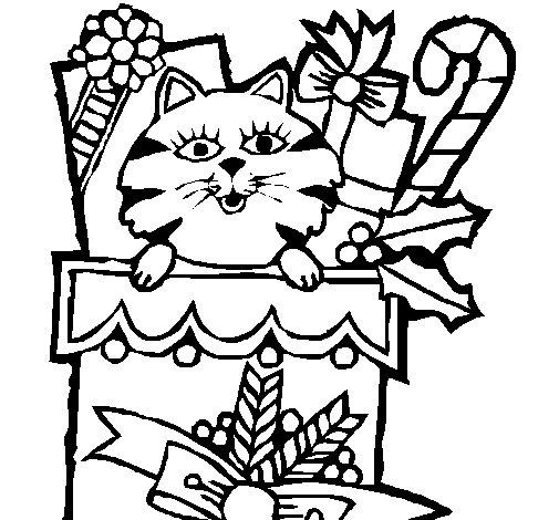 Dibujo de Calcetín con regalos para Colorear