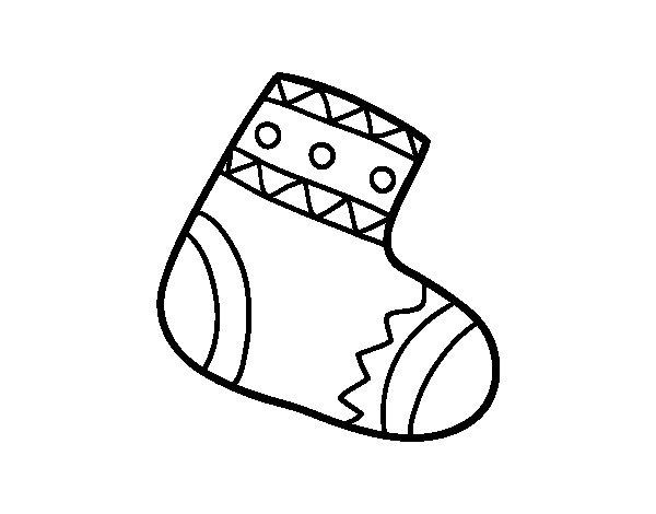 Dibujo de Calcetín Navideño para Colorear