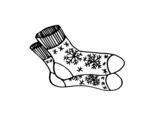 Dibujo de Calcetines de invierno para colorear