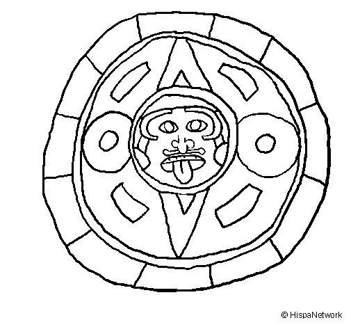 Dibujo de Calendario maya para Colorear