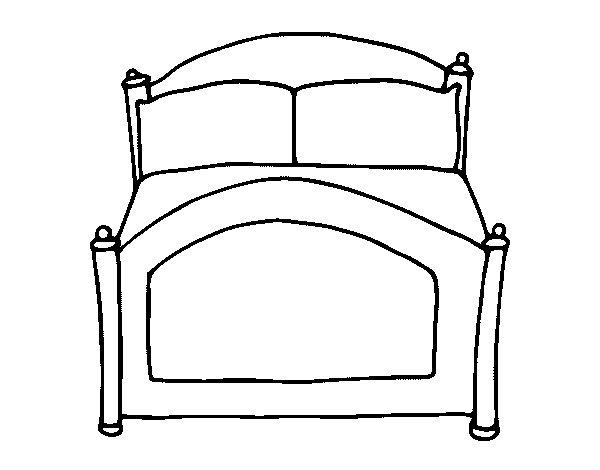 Dibujo de cama para colorear for Cama 3d dibujo