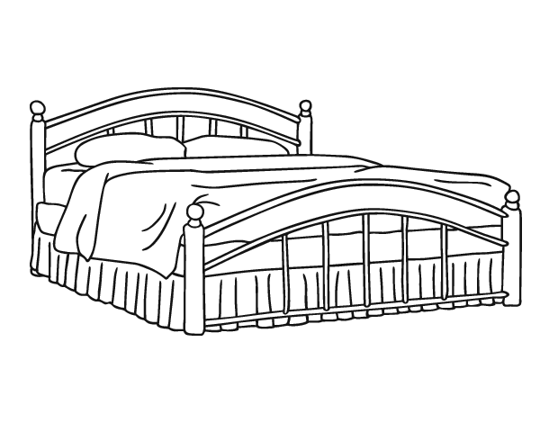 Dibujo de cama de matrimonio para colorear for 3 disegni della camera da letto della base