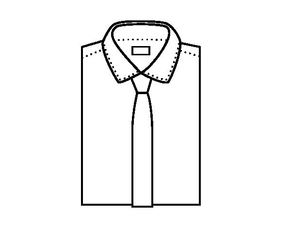Dibujos De Corbatas Para Imprimir Y Colorear: Dibujo De Camisa Con Corbata Para Colorear