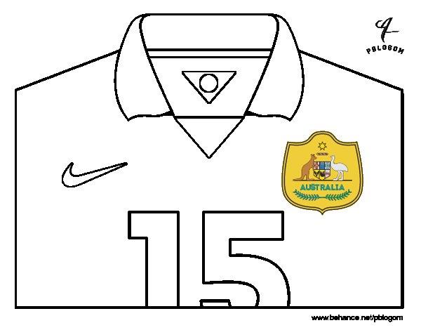 Dibujo de Camiseta del mundial de fútbol 2014 de Australia para Colorear
