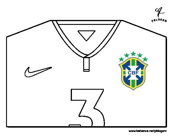 Dibujo de Camiseta del mundial de fútbol 2014 de Brasil para Colorear