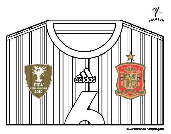 Dibujo de Camiseta del mundial de fútbol 2014 de España para Colorear