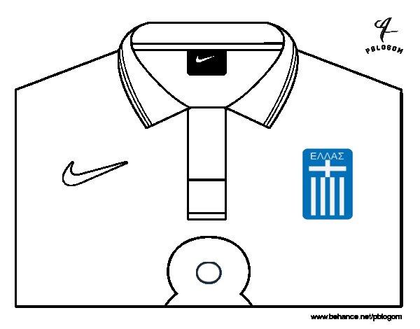 Dibujo de Camiseta del mundial de fútbol 2014 de Grecia para Colorear