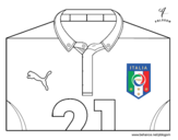 Dibujo de Camiseta del mundial de fútbol 2014 de Italia para colorear