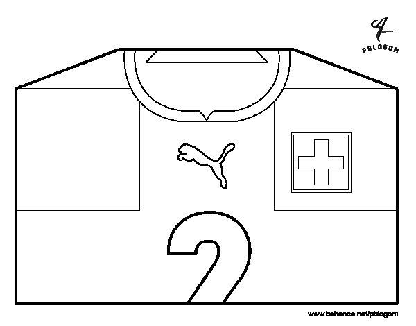 Dibujo de Camiseta del mundial de fútbol 2014 de Suiza para Colorear