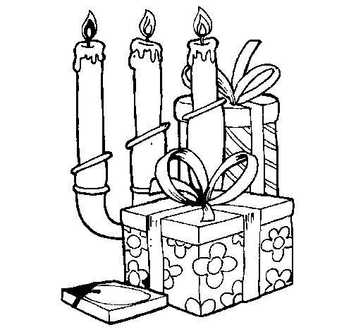 Dibujo de Candelabro y regalos para Colorear