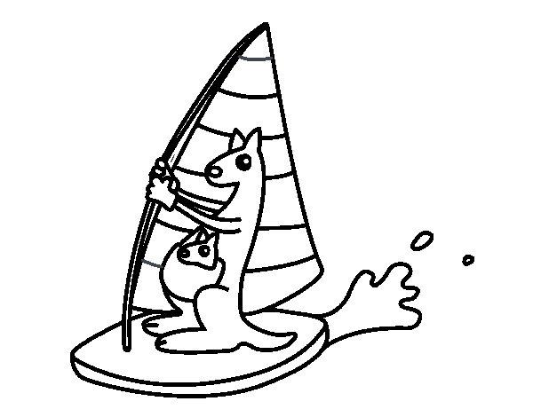 Dibujo de Canguros en una tabla de windsurf para Colorear