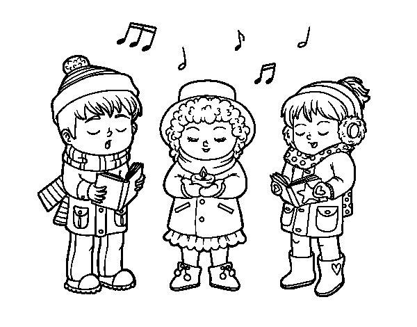 Dibujo de Cantantes navideños para Colorear