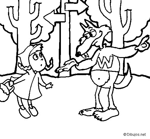 Dibujo de Caperucita roja 5 para Colorear