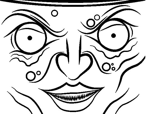 dibujo de cara de bruja para colorear